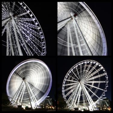 The Wheel of Brisbane Top: (left) Shutter speed 1/200, f3.5, ISO 1600 (right) Shutter speed 5 secs, f22, ISO100 Bottom: (left) Shutter speed 15 secs, f22, ISO100, (right) Shutter speed 1/200, f3.5, ISO 1600