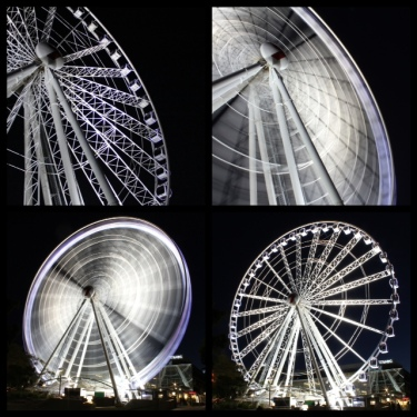 The Wheel of Brisbane Top: (left) Shutter speed 1/200, f3.5, ISO 1600 (right) Shutter speed 5 secs, f22, ISO100 Bottom: (left) Shutter speed 15 secs, f22, ISO100, (right) Shutter speed 1/200, f3.5, ISO 1600