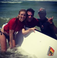Look out Kelly Slater ... Ross and I with Learn to Surf Noosa instructor Stefan.