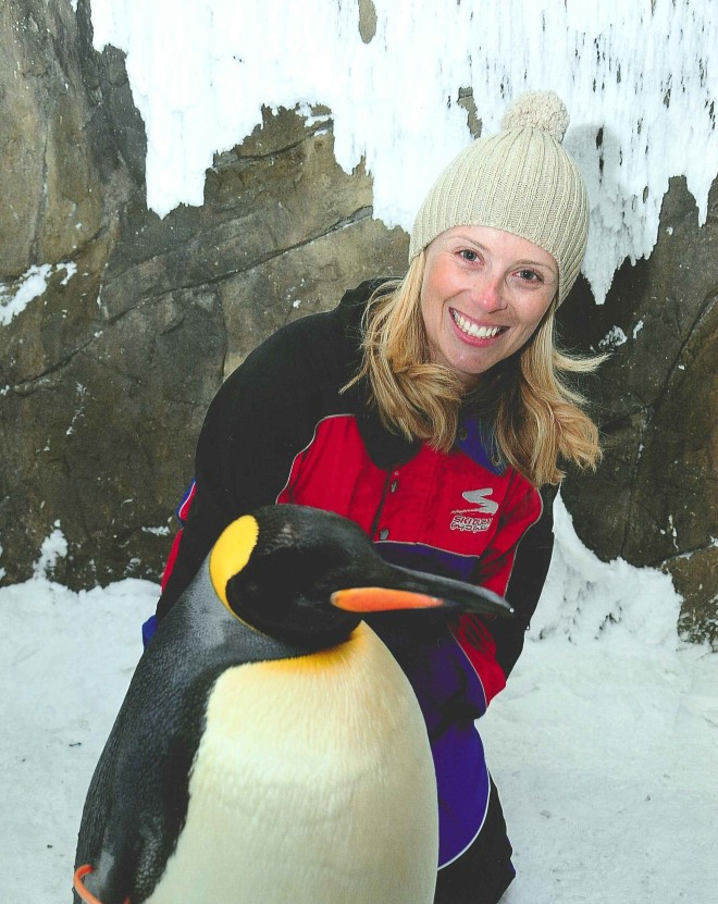 Meeting Squeaky the King Penguin at Ski Dubai in the Mall of the Emirates.