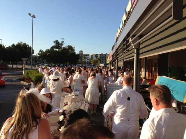 Crowds gather outside Toombul Centro ready for transportation to the 'surprise' venue.