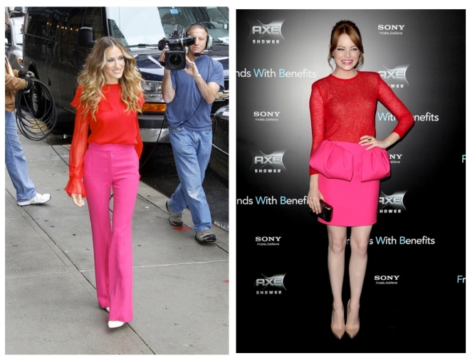 Sarah Jessica Parker and Emma Stone both rock the pink/red colour combination.