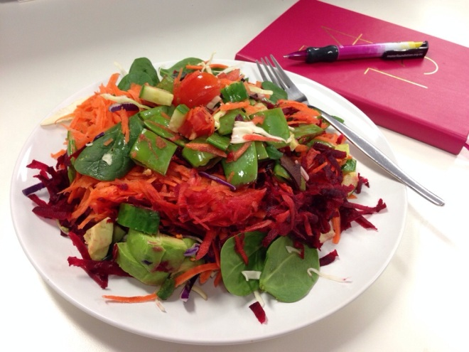 Lunch … baby spinach, carrot, beetroot, snow peas, tomato, cucumber and avocado.