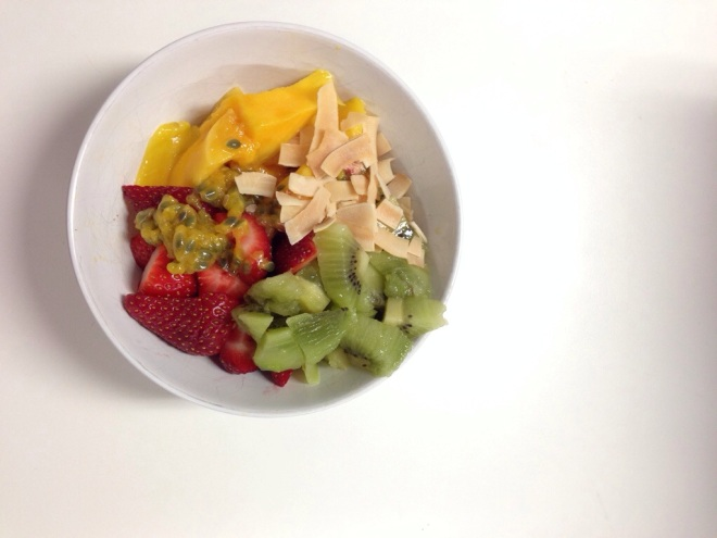 Breakfast … Mango, strawberries, kiwi fruit, coconut and passionfruit.