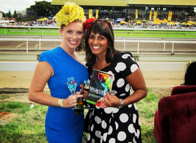 Flashback … Reshni and I celebrating Melbourne Cup at Eagle Farm Racecourse in 2011.