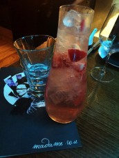 Gorgeous Geisha White Sangria with ketel one vodka, pavan, strawberries and rose water topped with sparkling wine and soda water.