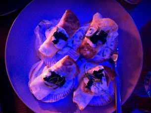 Pan fried scallop dumplings, verjus butter, black tobiko.