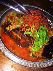 Fried eggplant cooked in Sichuan broth.