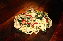 Moreton Bay Bug and Prawn Fettucini with prawns, confit garlic, kale, chilli, dill, vanilla creme and lemon.