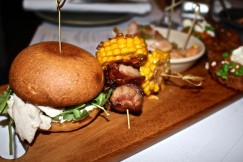 Mini Pulled Roast Turkey bun with cranberry jam, BBQ prawns with Dende-aioli and tomato salsa and Honey glazed ham with South American style BBQ corn and paprika.