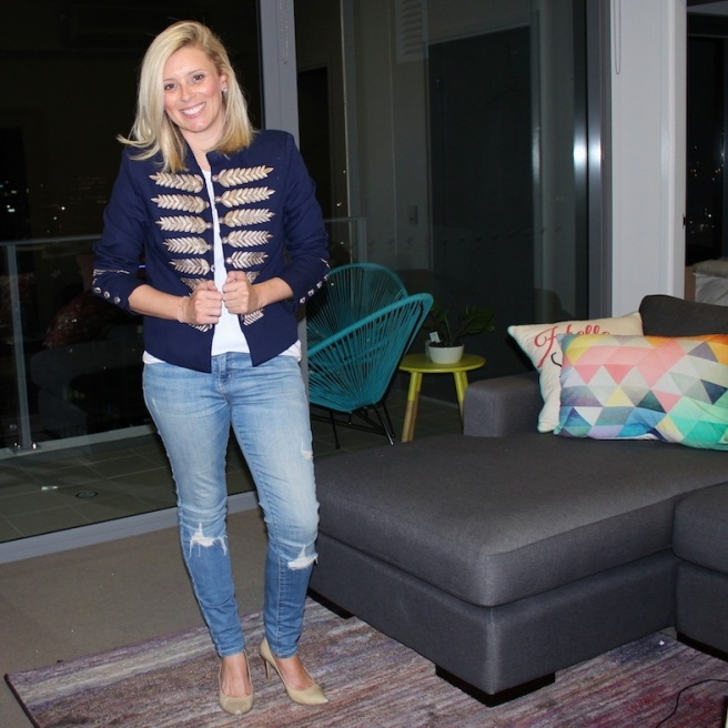 What I wore ... Sportsgirl jacket and singlet, Witchery jeans and Saba heels.