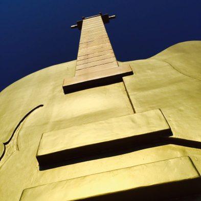 Tamworth's Big Golden Guitar stands 12m tall.