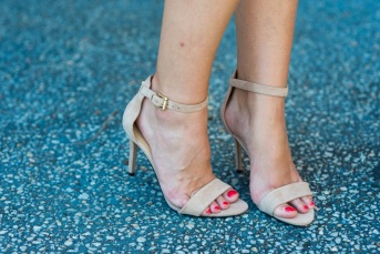 Nine West Mana heels in nude suede.