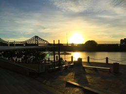 Sunrise over the Brisbane River.