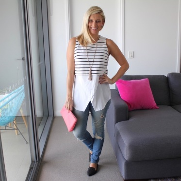 What I wore: Top and Jeans: Witchery | Shoes: Jane Debster at Myer | Clutch: Pratten at Bag Trader | Necklace: Seed Heritage.