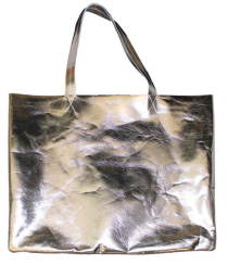 Papier D'Amour Large Leather Weekender Bag in silver. $300