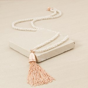 Adorne Mini Seed Bead Strand Tassel Necklace