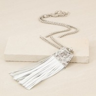 Adorne Flat Leather Tassel Necklace