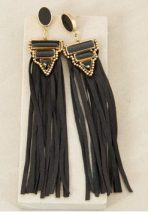 Adorne Boho Goddess Leather Tassel Earrings