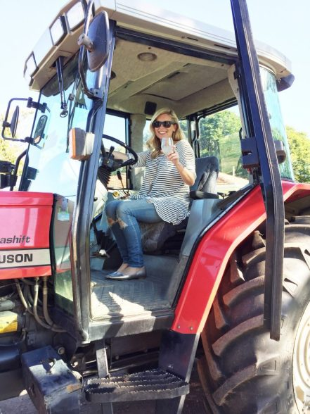 Test driving the tractor at Bauer's Organic Farm.