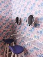 Retro wallpaper in the ladies' bathroom.