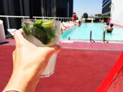 Cheers to sunny days at the rooftop pool!