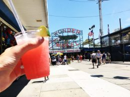 Beating the heat with a frozen margarita.