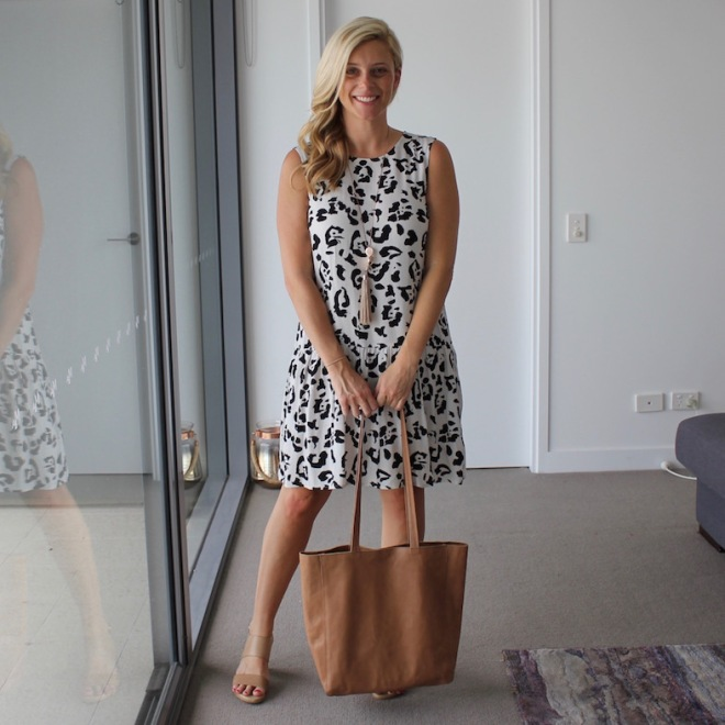What-Brooke-Wore-leopard-print-dress-tan-bag