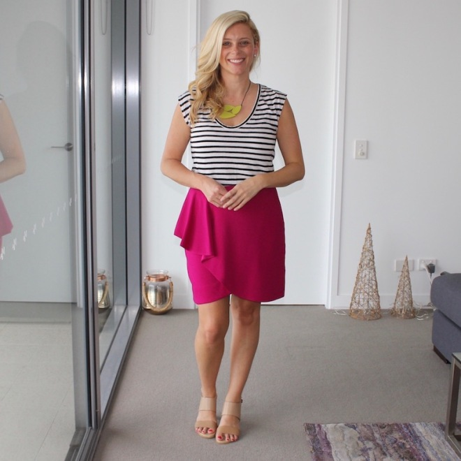 What-Brooke-Wore-Pink-skirt-striped-tee