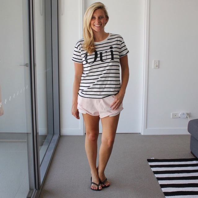 What_Brooke_Wore_Striped_Tee_Shorts