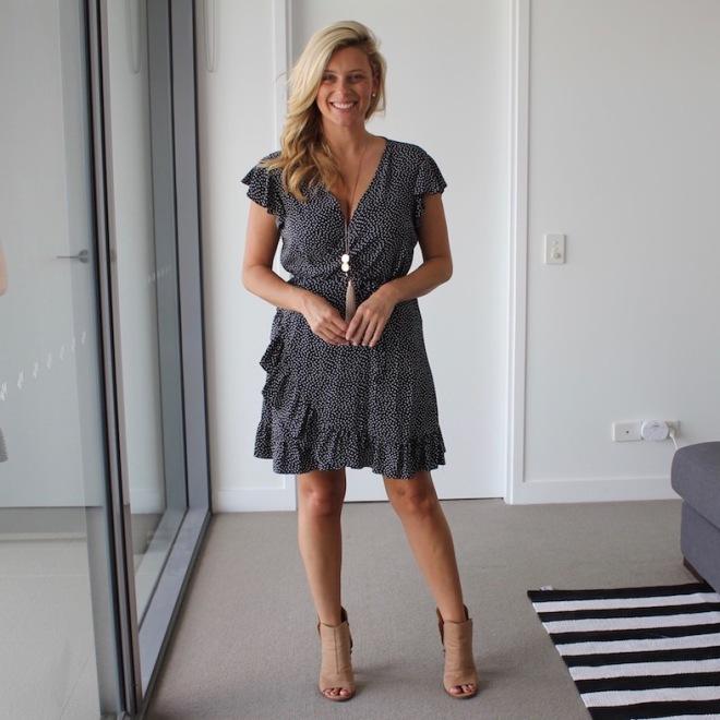 What_Brooke_Wore_Spot_Wrap_Dress