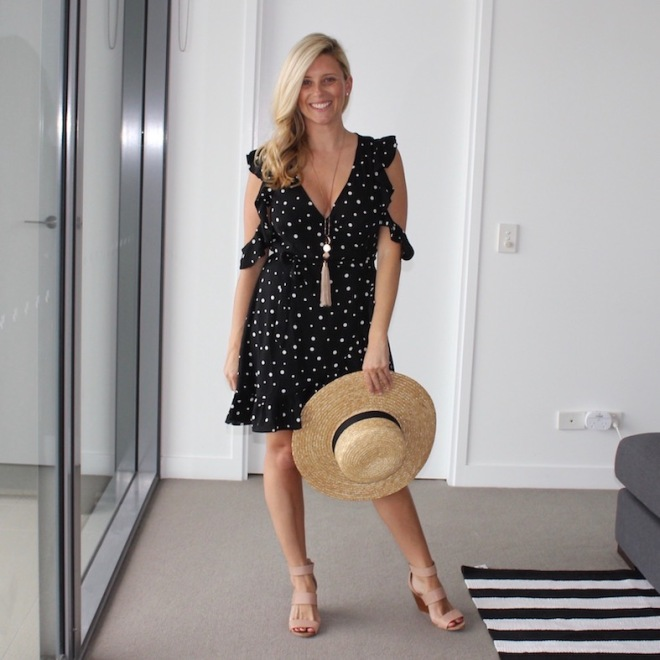What_Brooke_Wore_Spotted_Wrap_Dress_1