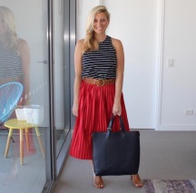 red_Pleated_skirt_striped_shirt