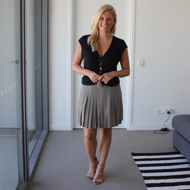 What Brooke Wore pleated skirt with navy top