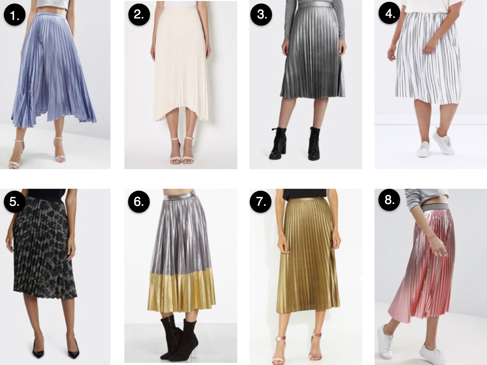7f81f96f9b Atmos & Here Samantha Pleat Skirt, $59.95 | 5. Jane Lamerton Animal Print Pleated  Skirt, $$129.95 | 6. SheIn Metallic Contrast Pleated Midi Skirt, ...