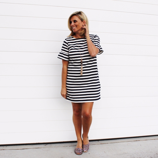 Striped-dress-glitter-shoes