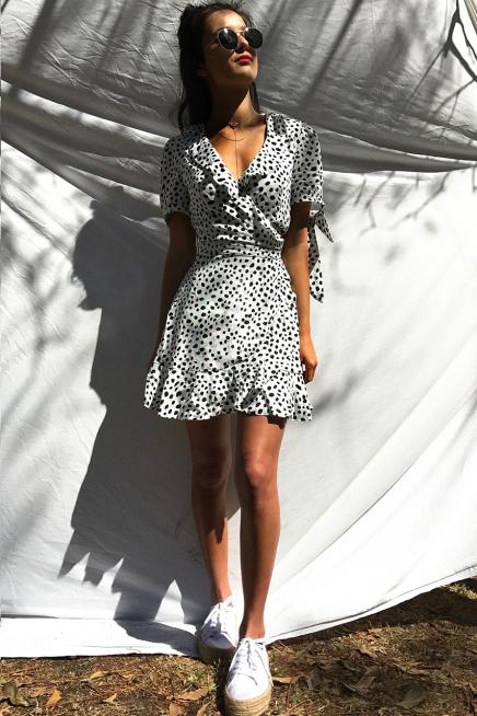 Seven Wonders Piper Mini Wrap Dress in White Spot