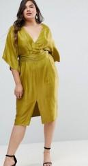 9. ASOS CURVE Kimono Sleeve Midi Dress with Pleated Waist
