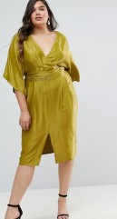 9. ASOS CURVE Kimono Sleeve Midi Dress with Pleated Waist