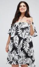 14. ASOS CURVE Off Shoulder Sundress in Mono Palm Print