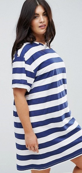 e0565c2f25 ASOS CURVE Ultimate T-Shirt Dress with Rolled Sleeves in Stripe ...