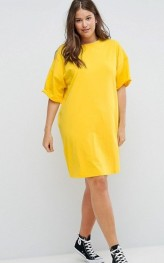1. ASOS CURVE Ultimate T-Shirt Dress with Rolled Sleeves, $30