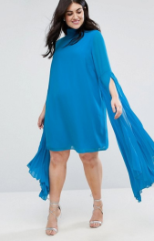 3. ASOS CURVE Dramatic Pleated Sleeve Mini Shift Dress
