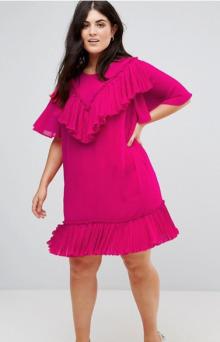 5. ASOS CURVE Pleated Ruffle Shift Mini Dress