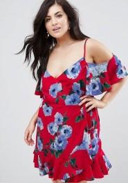 2. John Zack Plus Wrap Front Cold Shoulder Tea Dress In Large Floral Print