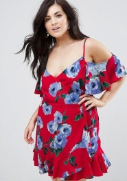 2. John Zack Plus Wrap Front Cold Shoulder Tea Dress In Large Floral Print
