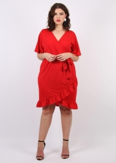 19. Pink Clove Wrap Dress With Frill Hem