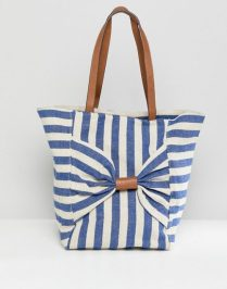 Oasis shopper bag with bow detail in stripe