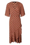 Boohoo Wrap Front Ruffle Hem Polka Dot Midi Dress