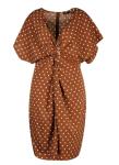 Boohoo Plus Twist Front Polka Dot Midi Dress